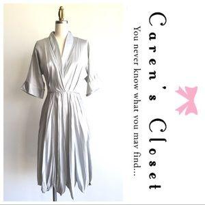 BCBGMaxAzria Runway Silver Silk Satin Dress
